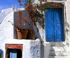 Two Blue Doors  Oia